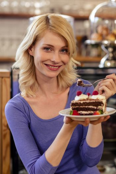 Customer with a cake alone