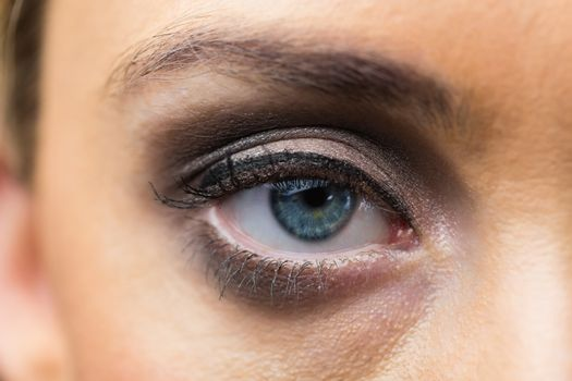 Focus on eyes makeup with opened eyes