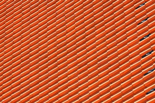 roof tile pattern on europian hause, close up.