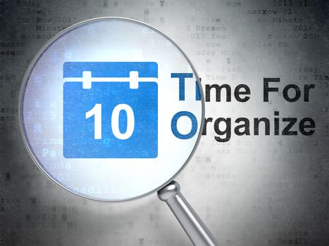 Time concept: Calendar and Time For Organize with optical glass