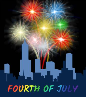 Fourth Of July Fireworks Over City Shows Independence Day Celebrations