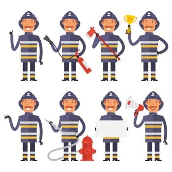 Firefighter in different poses