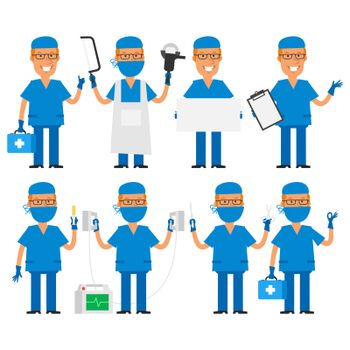 Surgeon in various poses
