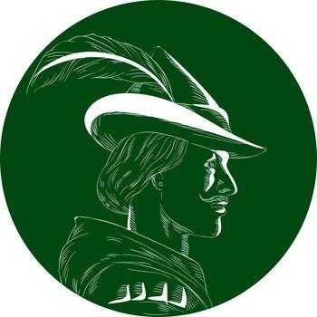 Robin Hood Side Profile Circle Woodcut
