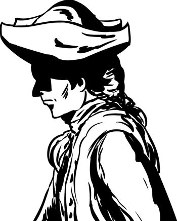 Outlined man in tricorn hat over white