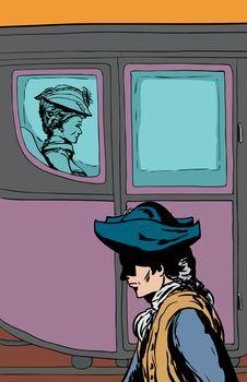 Man walking past rich carriage passenger