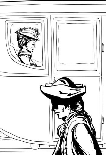 Outline of man in tricorn hat walking past rich carriage passeng