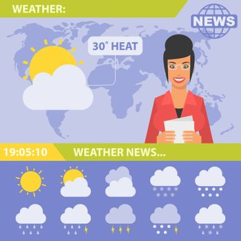 Vector Illustration, Reporter and news weather, format EPS 10