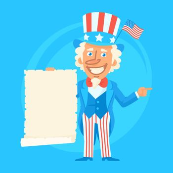 Uncle Sam Holds Paper Scroll and Indicates