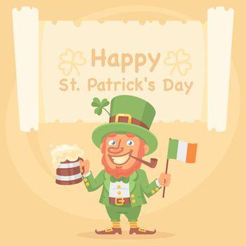 St. Patrick Holds Mug of Beer and Flag