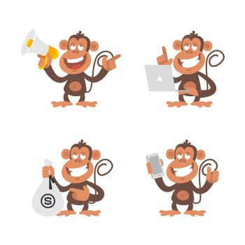 Vector Illustration, Monkey money and technology, format EPS 10