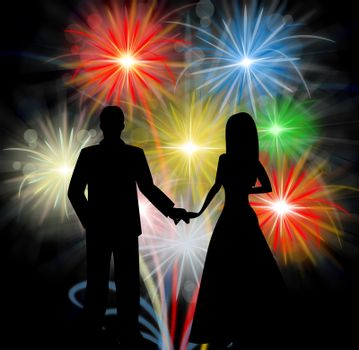 Couple Silhouette In Front Of Fireworks Romantic Celebration