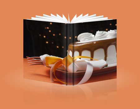 book of  cake covered with whipped cream and chocolate seals