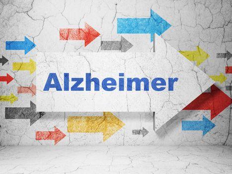 Medicine concept: arrow with Alzheimer on grunge wall background