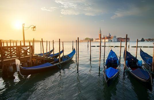 Gondolas and island