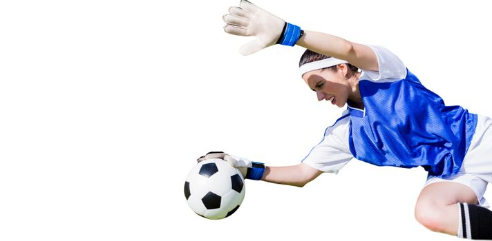 Woman goalkeeper stopping a goal