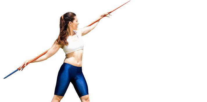 Sportswoman preparing to javelin throw
