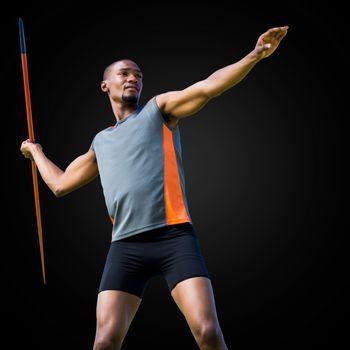Sportsman practicing the javelin throw