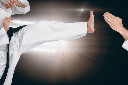 Composite image of female athlete practicing judo