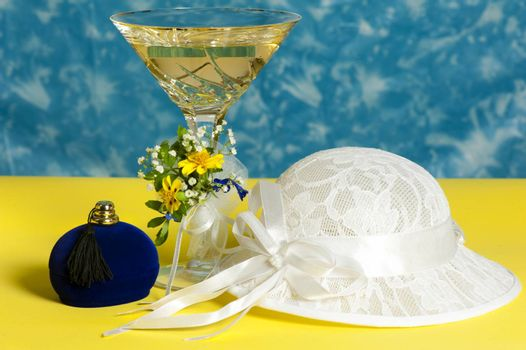 a glass of champagne and weddings favors
