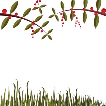 Simple background with leaf, grass and berry