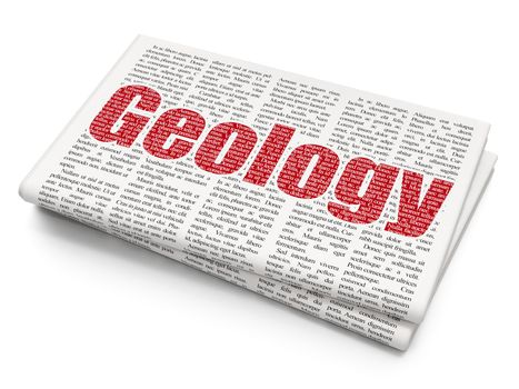 Education concept: Geology on Newspaper background