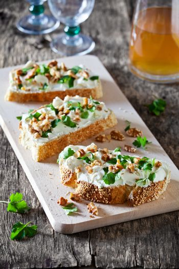 Bruschettas With Cheese And Herbs