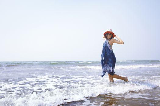 Woman at Atlantic ocean
