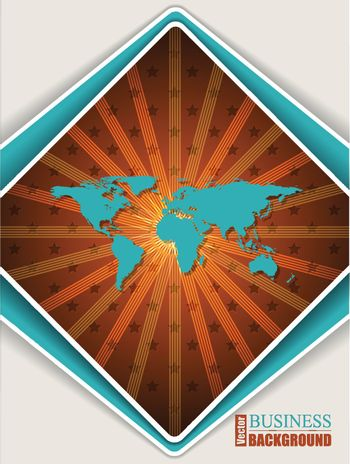 Abstract orange turquoise brochure design with world map