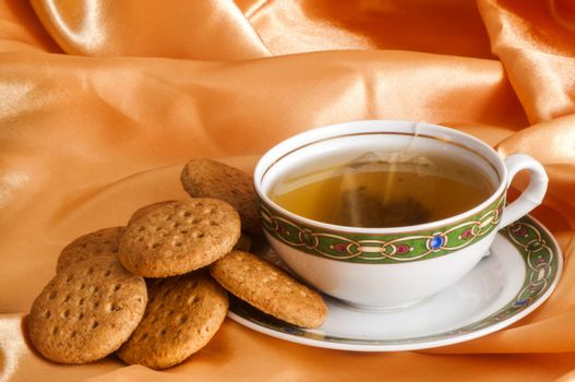 ginger and orange tea and wholemeal biscuits