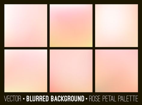 Pink abstract blurred background set. Rose petal palette. Smooth design elements collection wedding concept