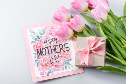 tulips, postcard and gift