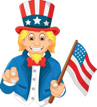 funny American cartoon holding American flag