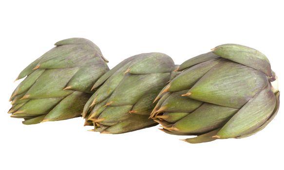 Italian raw artichokes on a white background