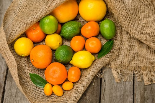 Top view of various fresh ripe citrus fruits on sackcloth