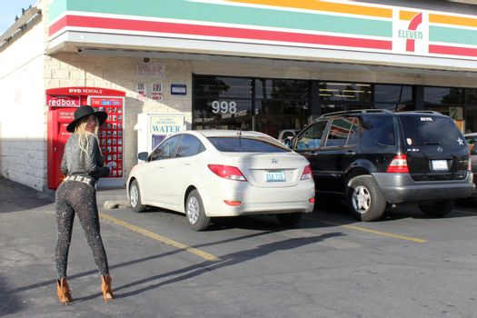 Nadeea Volianova the Russian Pop Star is spotted wearing a see-thru outfit to a convenience store, Calabasas, CA 02-21-17/ImageCollect