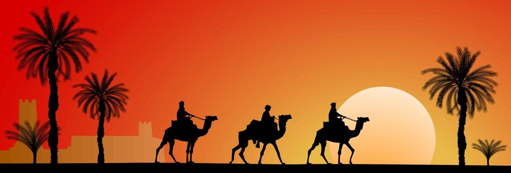Caravan of camels in the desert. Riders on camels on the background of palm trees and sunset.
