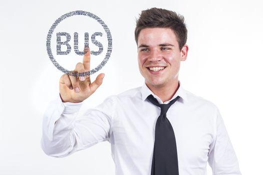Bus  - Young businessman touching word cloud - horizontal image