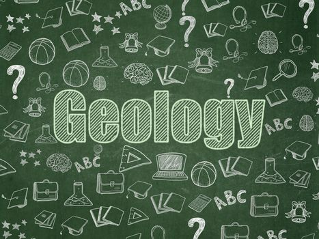 Studying concept: Geology on School board background