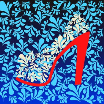 Vector Fashion Background of high heel Shoes on beautiful pattern - Illustration