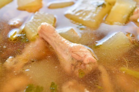 Chicken and winter melon with preserved lime soup, Thai food.