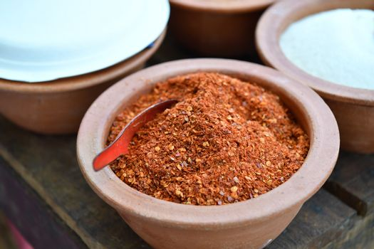 Cayenne pepper, fried chili and grinding, is ingredients for spicy thai food.
