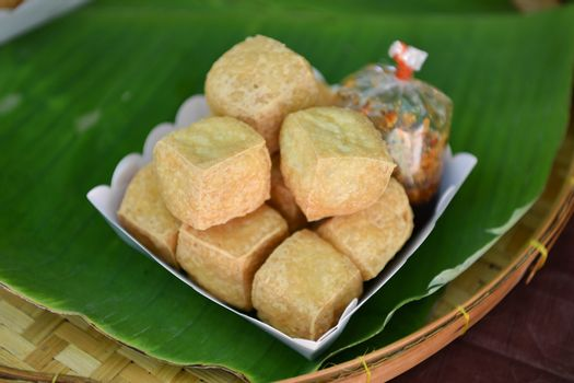Fried tofu on banana leaves. Thai food.