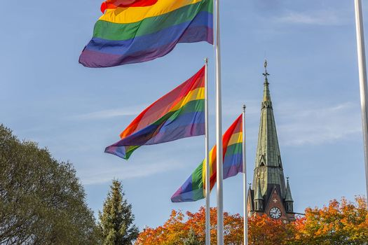 The  Rainbow Flag in front of Church.