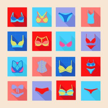 Vector Fashion Different types icons of bras and pants- Illustration silhouette
