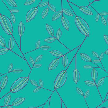 Vector Cute Seamless leaf pattern of green background - Illustration