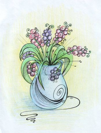 Still life - a vase of flowers painted pencil