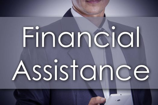 Financial Assistance - Young businessman with text - business concept - horizontal image