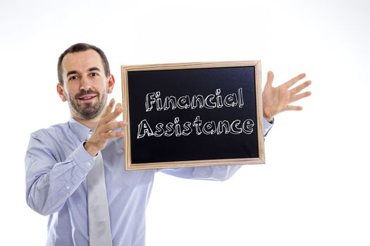 Financial assistance -Young businessman with blackboard - isolated on white - horizontal image