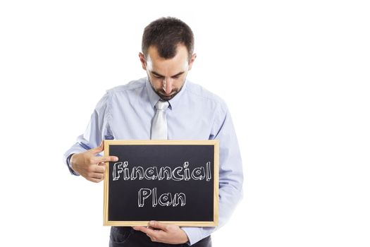 Financial Plan- Young businessman with blackboard - isolated on white - horizontal image